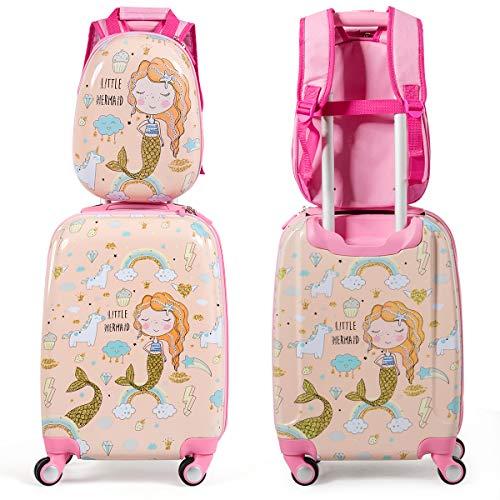 DREAMADE Kinderkoffer-Set Kiderkoffer mit Rucksack, Kinderkoffer mit 4 Rollen, Kofferset Kindertrolley Kindergepäck Handgepäck Reisegepäck Hartschalenkoffer (Pink)