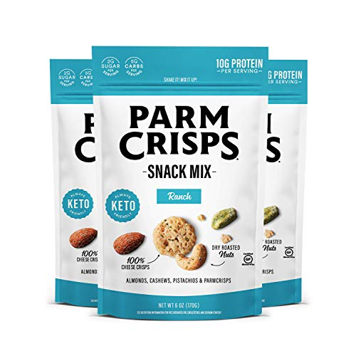 ParmCrisps Snack Mix Ranch, 6oz (Pack of 3), Keto Cheese and Nuts Snacks, 100% Cheese Crisps, Almonds, Cashews, and Pistachios, Keto-Friendly, Low Sugar, Low Carb, High Protein
