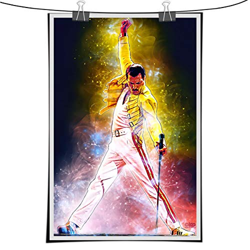 Lihuai Art-Freddie Mercury Background Wallpaper Wall Art Canvas Painting Poster Print Pictures for Living Room Home Interior Decoration 50x70cm Framed (colorful,50x70cm-no frame)