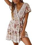 Style Dome Sommerkled Damen Crop V-Ausschnitt Kurzarm Minikleid Blumen Floral Wickelkleid für Strand Weiß-991214 S