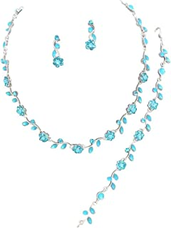 Affordable Wedding Jewelry Aqua Blue Crystal 3 PCS Set Silver Necklace Bracelet Earring Bridal Formal