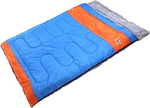 AOSLEEP Double Reine Camping Sac De Couchage Adulte Chaud Léger 3-4 Saison Compressé Mat De Couchage pour Voyager Activités De Plein Air en Plein Air Rouge Orange Bleu (Couleur   Bleu)