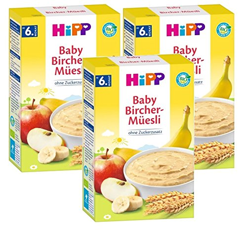 Hipp biologische graanpap Good Morning pap Bircher muesli, 3-pack (3 x 250 g)