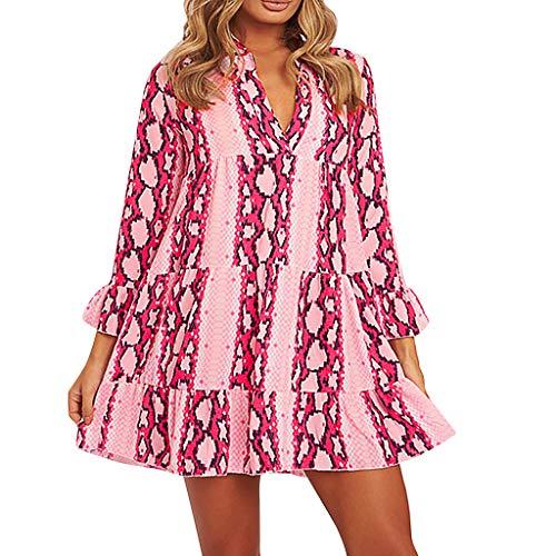 FRAUIT Vestiti Anni 70 Donna Hippy Vintage Abito Cocktail Vestiti Ragazza Sexy Discoteca Vestito Donne Corto Elegante Maniche Lunghe Abiti Autunnali Elegantissimi Mini Dress Halloween