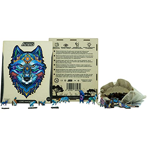 Puzzle de Madera Animales para Adultos, Tamaño A4, Incluye Poster - Rompecabezas para niños | Pasatiempos Familiar (Lobo Mágico) 150 Piezas
