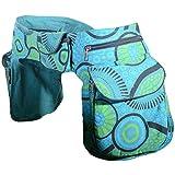 KUNST UND MAGIE Doppel Bauchtasche Sidebag Gürteltasche Festivaltasche Hippie Goa, Farbe:Petrol/Grün