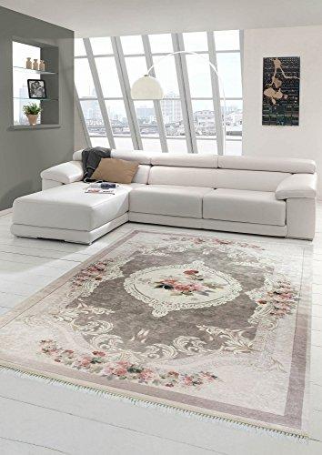 Merinos Teppich Blumen Wohnzimmerteppich waschbar in Beige Rosa Größe 80x150 cm