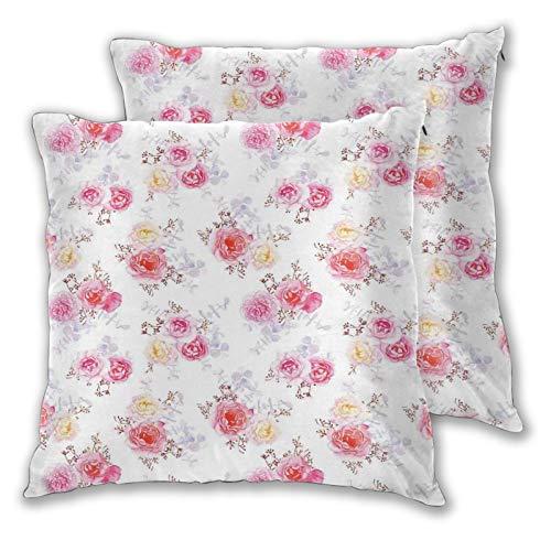 NUXIANY Juego 2 Fundas Cojines Hogar Minimal Romántico Pastel Rosas Bebés Aliento y Hojas Patrón de Flores de Acuarela Decorativa Almohadas Fundas de para Sala de Estar sofás 50x50cm