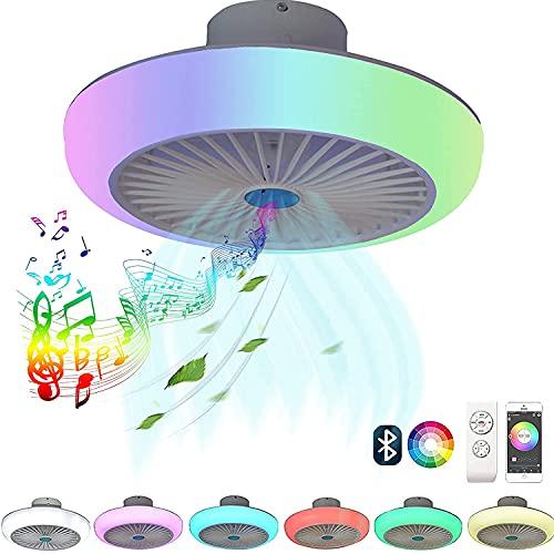 LED RGB Deckenleuchte mit Ventilator und Lautsprecher Alexa Bluetooth Musik APP Home Farbwechsler Flach Deckenventilator Beleuchtung Fernbedienung Leise Dimmbar Deckenlampe mit Licht Lampe Fan (1)