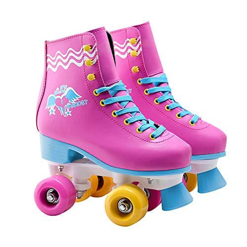GGOODD 4 Rueda Patines en Ruedas Doble Zapatos Skate Cuero de la PU Zapatos con Ruedas Automática De Skate Zapatillas para Niños Y Niñas,39