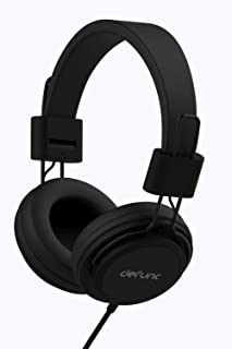 DEFUNC Basic Corded (Wired) On-Ear Headphones with soft ear-cushions, inline controls, built-in Mic, adjustable headband, ...
