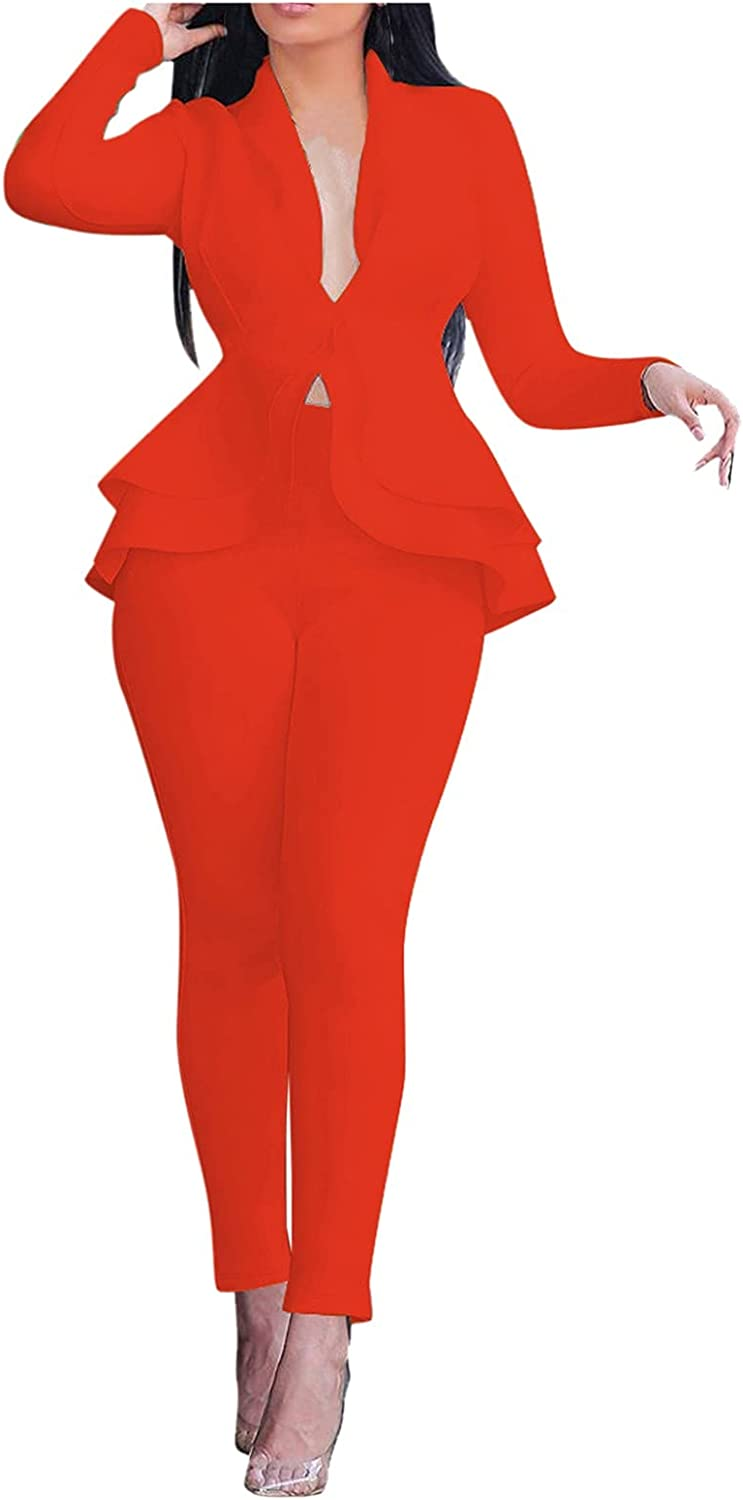 Sexy 2 Piece Outfits for Women Long Sleeve Ruffle Hem Solid Blazer & Pants Casual Elegant Business Suit Sets