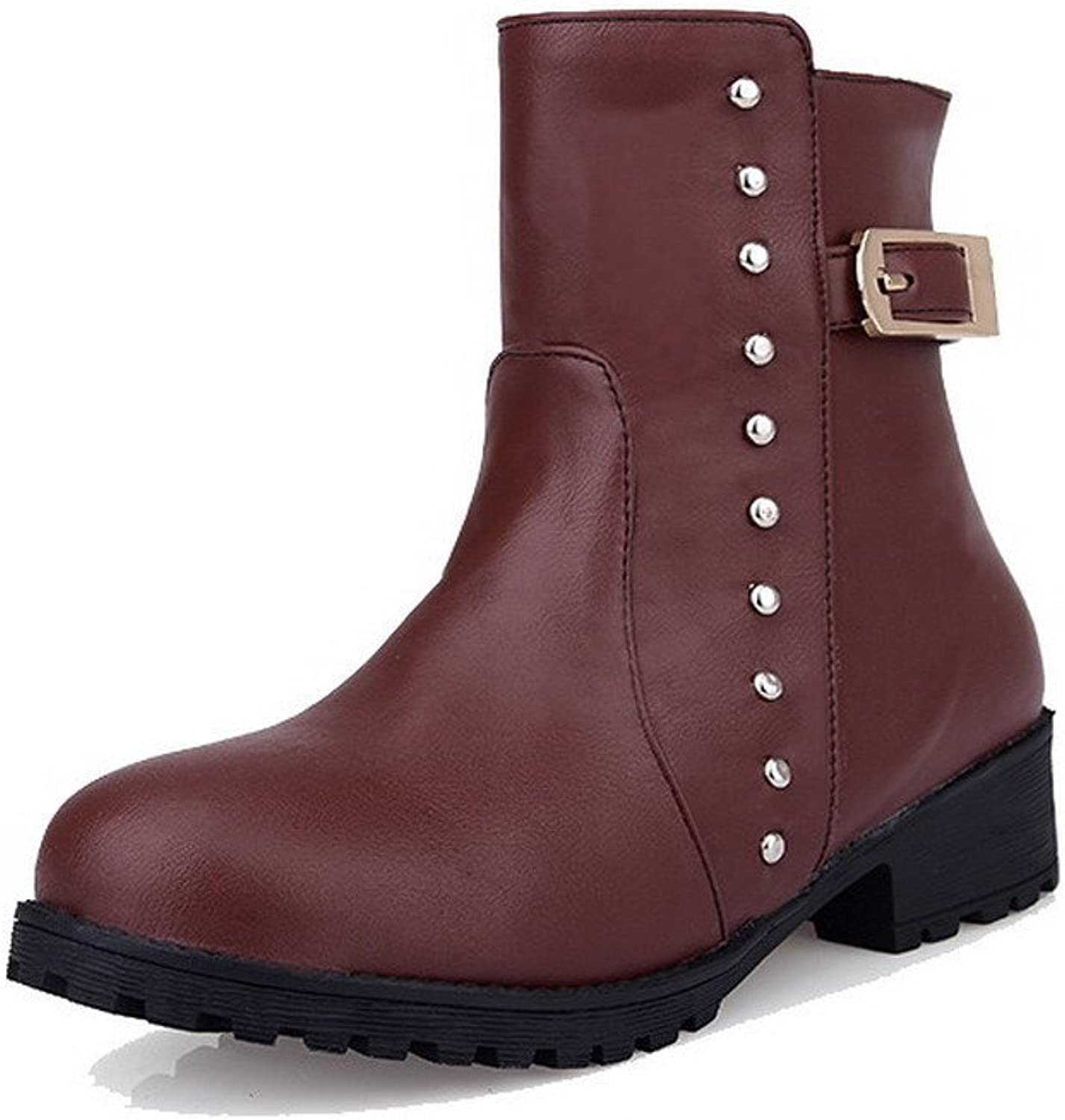 AllhqFashion Women's Round Closed Toe Low Top Low Heels Solid Pu Boots