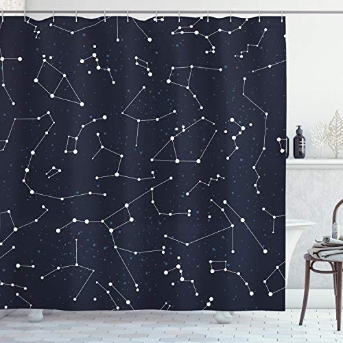 Ambesonne Constellation Shower Curtain, Milky Way Inspired Pattern with Cluster of Fixed Stars in Night Sky, Cloth Fabric Bathroom Decor Set with Hooks, 70