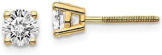 14k Yellow Gold 3/4ctw Cert. VS/SI, D E F, Lab Grown Diamond Screw Back Earring