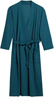 f7672f3a376 iLXHD Lightweight Long Waffle Kimono Unisex Spa Robe Home wear Solid  Bathrobe Nightgown