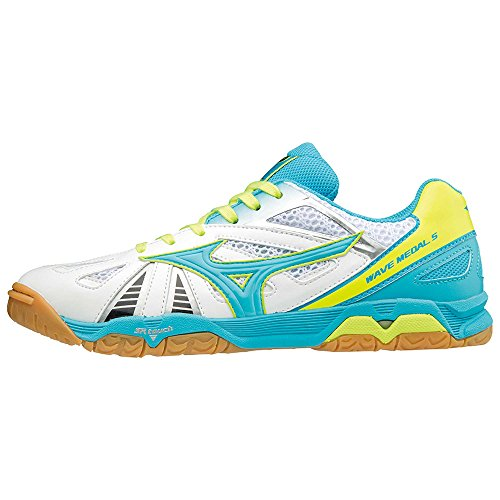 Mizuno Wave Medal 5 Men Blue Atol/White/Safety Yellow (EU 44)