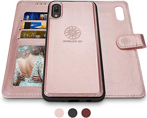 Shields Up Galaxy A10E Wallet Case, [Detachable] Magnetic Wallet Case, Durable and Slim, Lightweight with Card/Cash Slots, Wrist Strap, [Vegan Leather] Cover for Samsung Galaxy A10E -Rose Gold