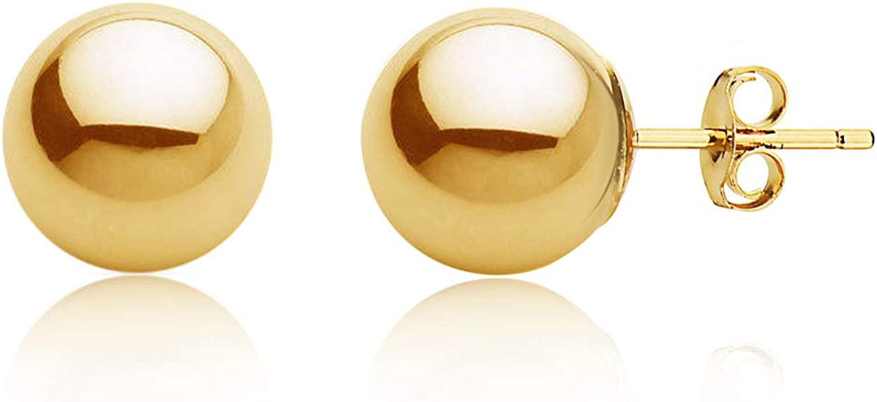 14k Gold Stud Earrings for Women Real 100% Ball All items in the store sale