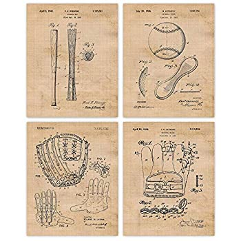 Vintage Baseball Patent Poster Print Set of 4  8x10  Unframed Photos Wall Art Decor Gifts Under 20 for Home Office Man Cave Gym College Student Teacher Coach Champion Sports Fan