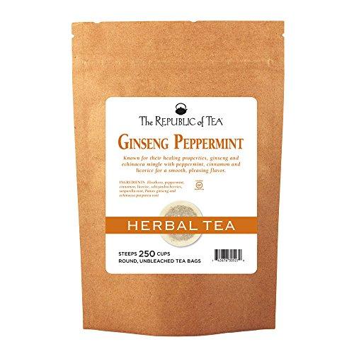 The Republic Of Tea Ginseng Peppermint Herbal Tea, 250 Tea Bag Bulk