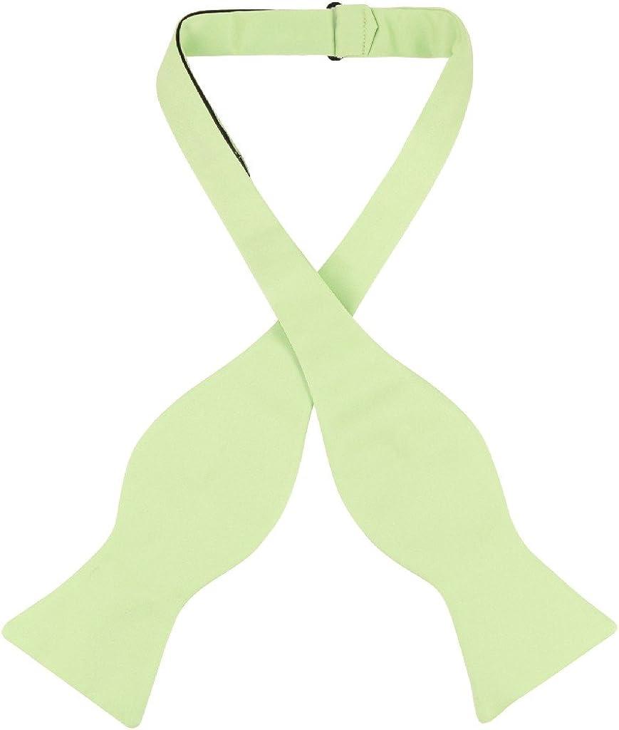 Vesuvio Napoli SELF TIE Bow Tie Solid LIME GREEN Color Men's BowTie