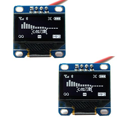 DIYmall 0.96' 0.96inch Blue/White/Yellow and Blue I2C IIC Serial 128X64 OLED LCD Display Module for Arduino (Pack of 2pcs) (White)