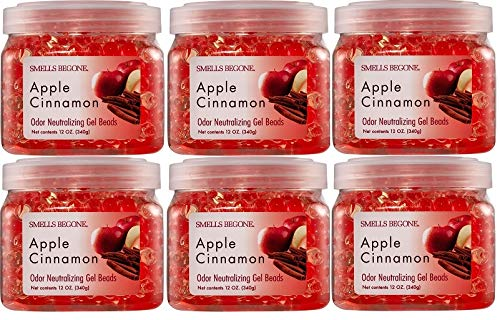 Smells Begone Odor Eliminator Gel Beads - Air Freshener - Eliminates Odors in Bathrooms, Cars, Boats, RVs and Pet Areas - Made with Natural Essential Oils - Apple Cinnamon Scent (6 Pack)