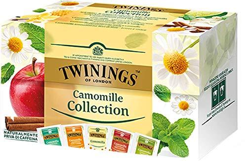 Twinings Camomille - Camomille Collection - Collezione di Camomille di Originali Miscele Arricchite da Frutta, Erbe e Spezie - Naturalmente Prive di Caffeina (20 Bustine)