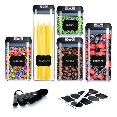 KINWY - Vorratsdosen - Aufbewahrungsbox Küche - 5er Set Schwarz aus Acryl - Bruchfest und Langlebig - Vorratsbehälter - BPA Frei - Gewürzdosen - Luft- und Wasserdicht - Stapelbar -