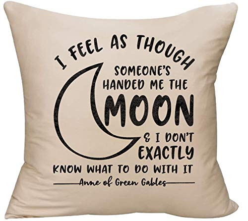 EVH Someones Handed me The Moon Anne of Green Gables Book Quote Novel Decorative Throw Pillow Cover 18 x 18 Beige Funny Gift