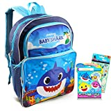 Baby Shark Backpack Travel Bag for Boys Toddlers Kids Bundle ~ Premium 16' Baby Shark School Bag Travel Set with Baby Shark Coloring Pack and Stickers (Baby Shark School Supplies)