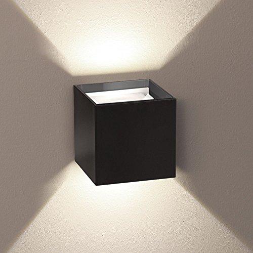 Preisvergleich Produktbild s.LUCE Ixa LED Wandleuchte + verstellbare Winkel IP44 Aussen-Wandlampe Schwarz,  Fassadenbeleuchtung Up&Down Lichteffekte mit stufenlos einstellbaren Klappen