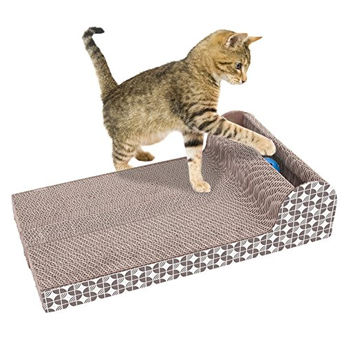 Yongan Katzenkratzbrett für Katzen, mit großer Platte, horizontal, geriffeltes Sofa, Katzen-Kratzer, Klauen, interaktives Spielzeug für Katzen zum Kratzen und Ausruhen