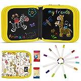 JOYUE Enfant Licorne Doodle Planches, Enfant Tableau de Dessin Effaçable Enfant Dessin Livre, Jouets Dessin Double Face avec 12 Stylos Effaçables Colorés (Licorne)