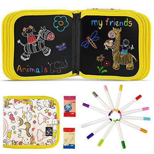 JOYUE Tabla de Dibujo Portátil para Niños, Tablero de Pintura de Graffiti de Unicornio, Innovadora Pizarra para Dibujar Durante Viajes o en Casa, Libros Blandos de Pizarra de 14 páginas