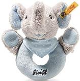 Steiff Trampili Elefant Greifring mit Rassel - 13 cm - Kuscheltier für Babys - weich & waschbar - grau/blau (241710)