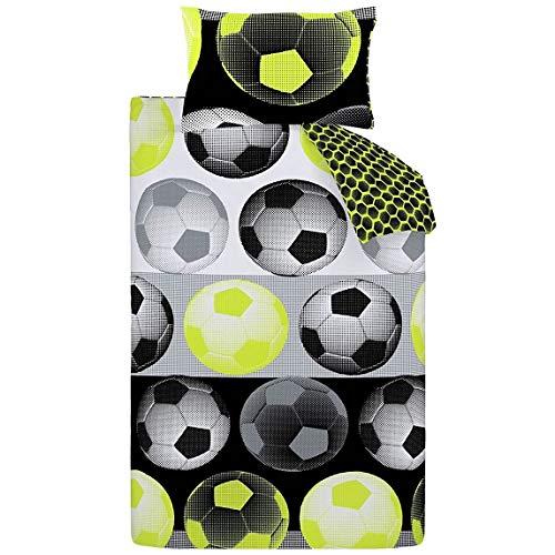 Catherine Lansfield neon Football ricco set copripiumino poliestere, vari colori e dimensioni, Giallo, Set piumone 1 piazza