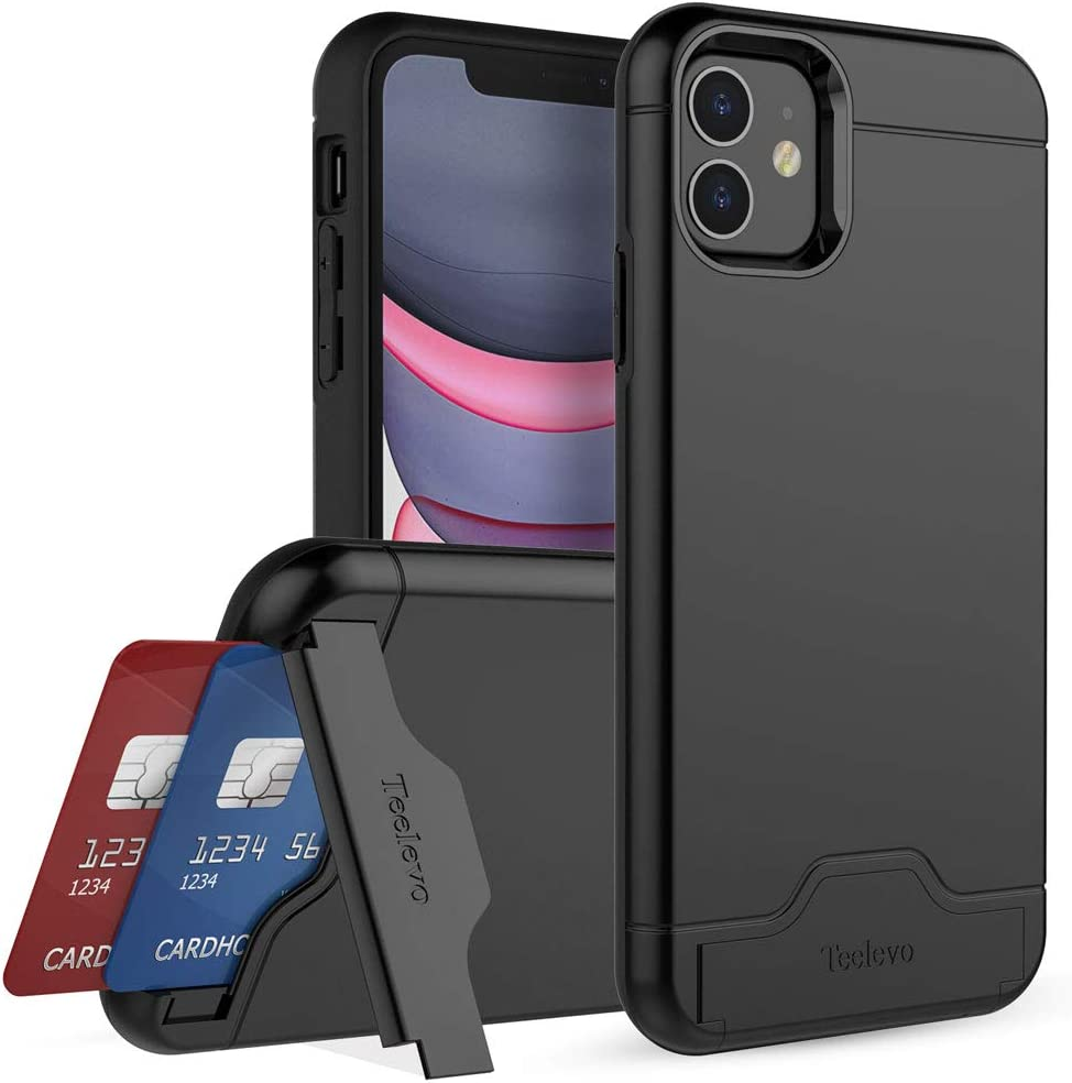 Teelevo Wallet Case for Apple iPhone 11, Dual Layer Case with Card Slot Holder and Kickstand for Apple iPhone 11 - Black