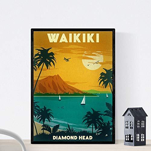 Nacnic Vintage Poster Vintage Poster Waikiki. A4-Format