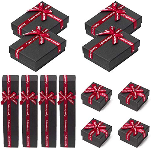 NBT Square Long Rectangular Paper Jewelry Gifts Boxes with Bow-knot for Jewelry Display-rings, Small Watches,Black-1