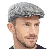 Socks Uwear Herren Baskenmütze Flache Kappe Modehut Mit Kariertem Gewebten Tweed Design - Grau, 58cm