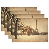 Hermosas calles parisinas con manteles individuales de la torre Eiffel, tapete de mesa lavable, 12 * 18 pulgadas, juego de 4