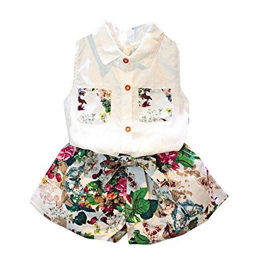 Covermason Niña Sin Mangas Blusa Camiseta y Floral Pantalones(1 Conjunto) (2-3Años, Blanco)