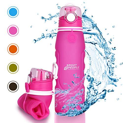 sport2people Silikon Faltbare Wasserflasche 1 L - Medizinische Qualität Aufrollen Trinkflasche, BPA Free - Sportsflasche mit Leck Sicherheitsventil für Reisen, Sport, Outdoor, Camping (hot pink)