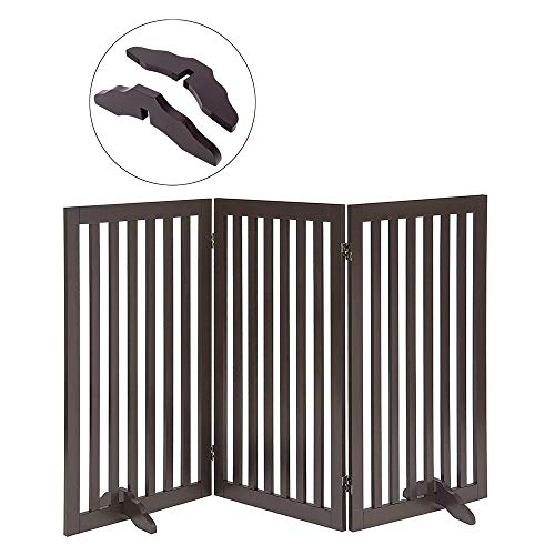 Total Win Freestanding Pet Gate for Dogs with 2PCS Support Feet, Foldable Wooden Dog Gates for Doorways Stairs, Indoor Pet Puppy Safety Fence, Extra Tall, 36 Inches H, 60 Inches W, 3 Panels, Espresso
