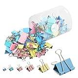 120er-Pack Verschiedene Binder Clips, 4 Farben, mehrfarbiges Büroklammern Sortiment mit 6 verschiedenen Office-Clips-Größen für Zuhause, Büro und Schule