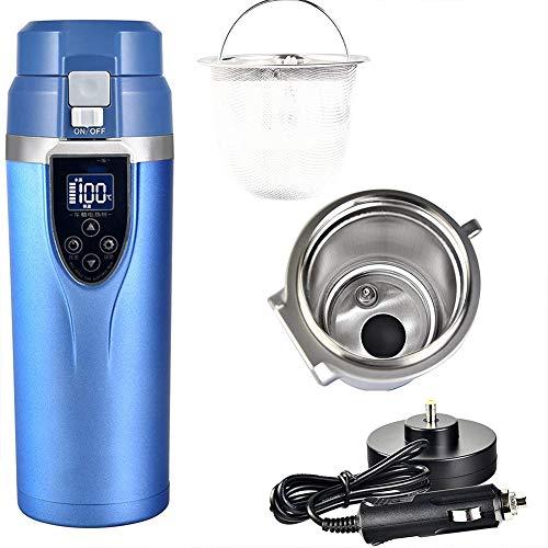 Auto Tasse Edelstahl Wasserkocher Auto Heizung Wasser Tasse 12v / 24v Auto Reisebecher Heißes Getränk, das Becher einfriert Intelligentes Heizungsauto,Blue