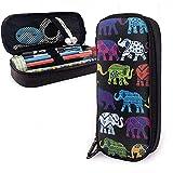 Estuche para lápices, organizador de bolsa para bolígrafo con soporte para lápices - Elefantes negros