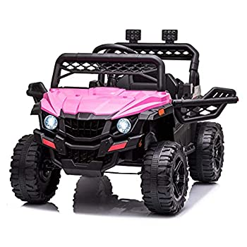 BISHE Ride-On UTV Without Ceiling Pink Electric Toy Car for Kids with LED Headlights 12V Large Battery Capacity Car Ride-on Toys Utility Vehicle Toy Ride On with 2.4GHZ Remote Control